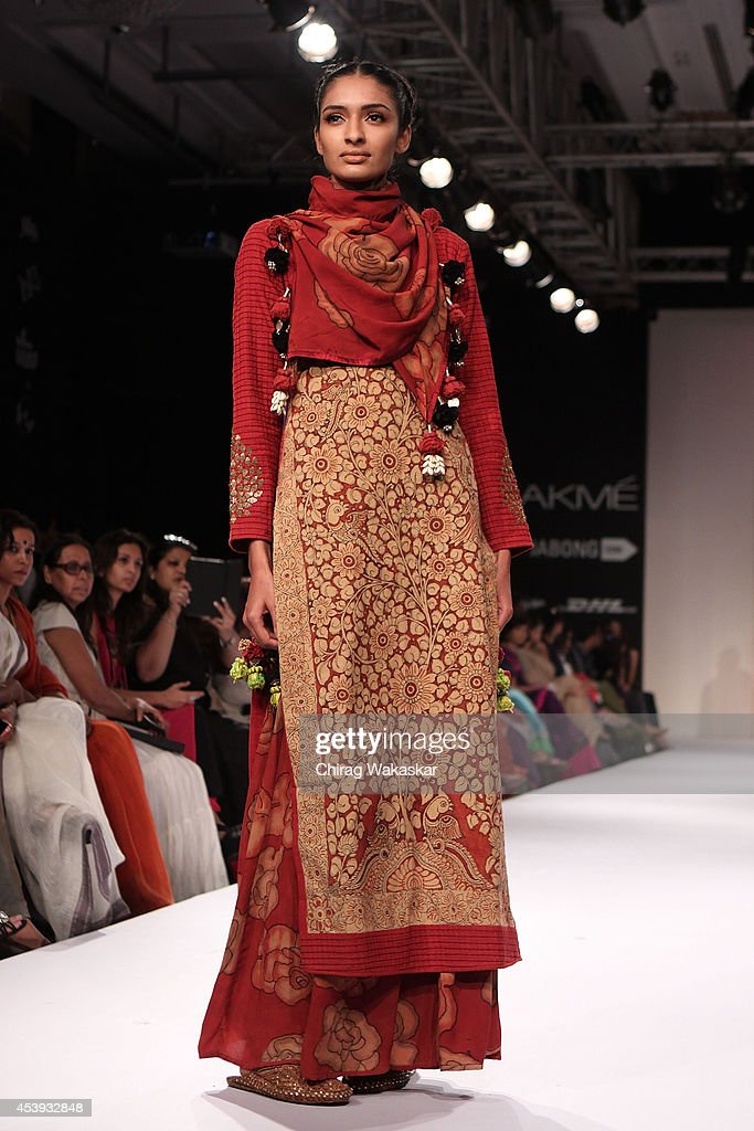 A model showcases designs by Sashikant Naidu during day 2 of Lakme Fashion Week Winter/Festive 2014 at The Palladium Hotel on August 21, 2014 in Mumbai, India.
