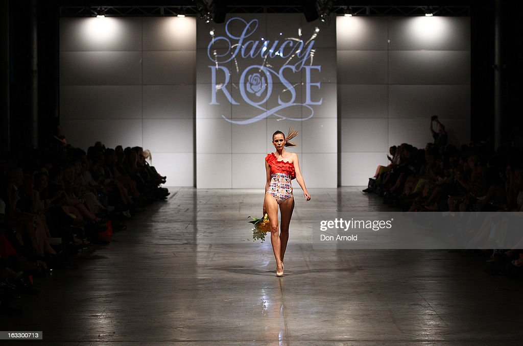A model showcases designs by Saucy Rose on the runway during Fashion Palette 2013 on March 7, 2013 in Sydney, Australia.
