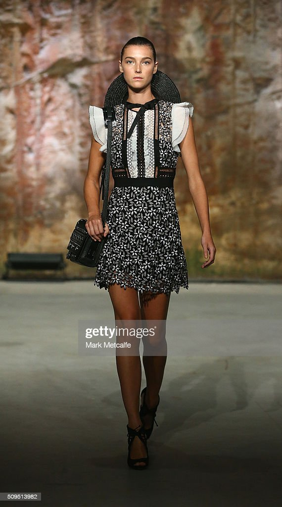 A model showcases designs by Self Portrait on the runway at the Myer AW16 Fashion Launch on February 11, 2016 in Sydney, Australia.