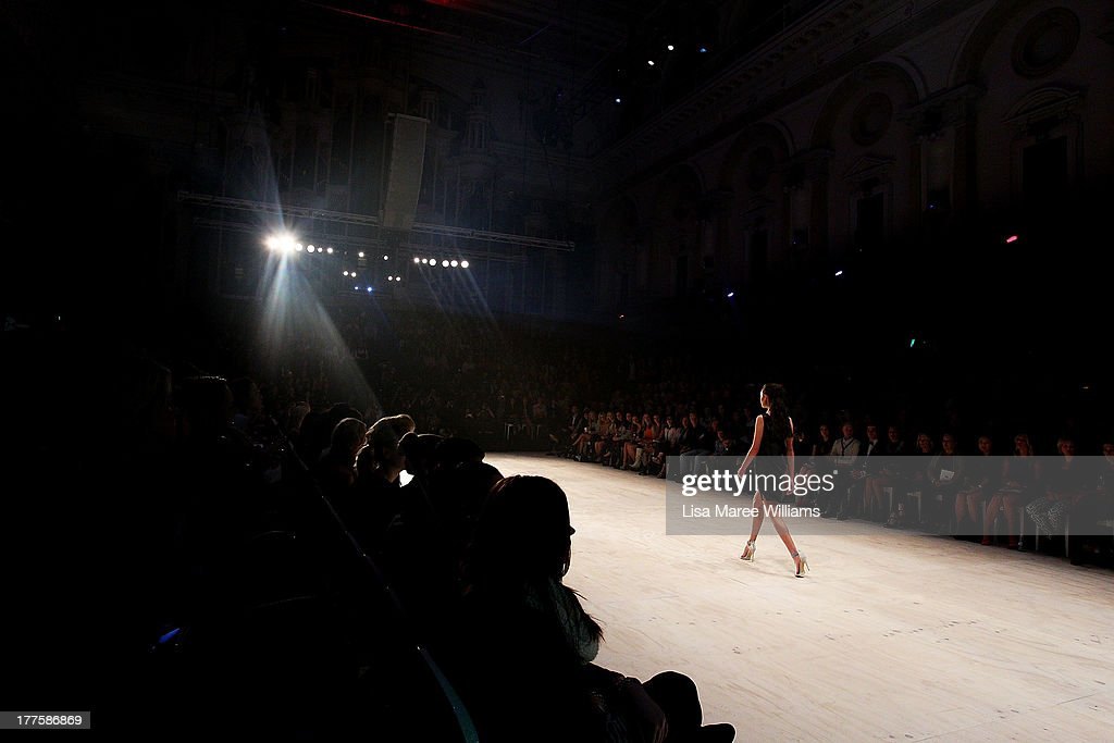 A model showcases designs by Serpent & the Swan on the runway at the MBFWA Trends show during Mercedes-Benz Fashion Festival Sydney 2013 at Sydney Town Hall on August 24, 2013 in Sydney, Australia.