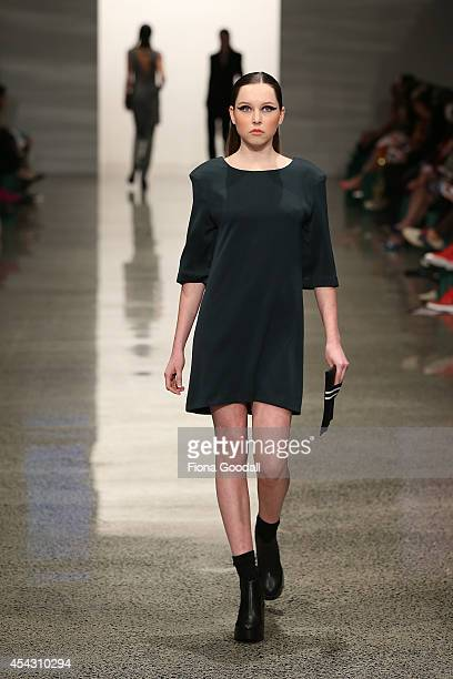 A model showcases designs by Sharmaine Moke in the Miromoda Show at New Zealand Fashion Week 2014 on August 29 2014 in Auckland New Zealand