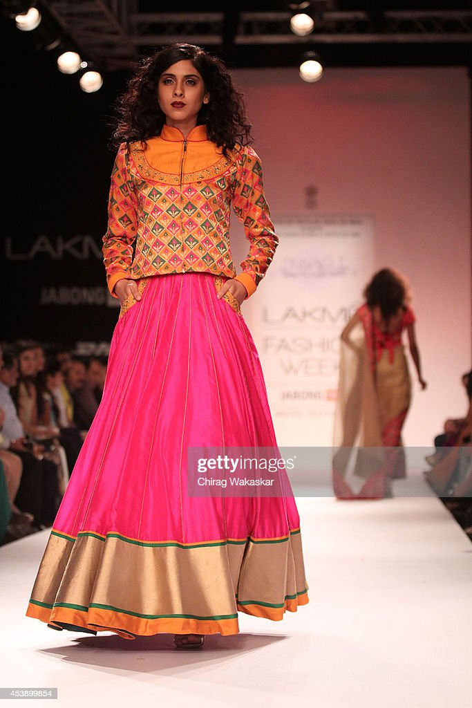 A model showcases designs by Shruti Sancheti during day 2 of Lakme Fashion Week Winter/Festive 2014 at The Palladium Hotel on August 21, 2014 in Mumbai, India.