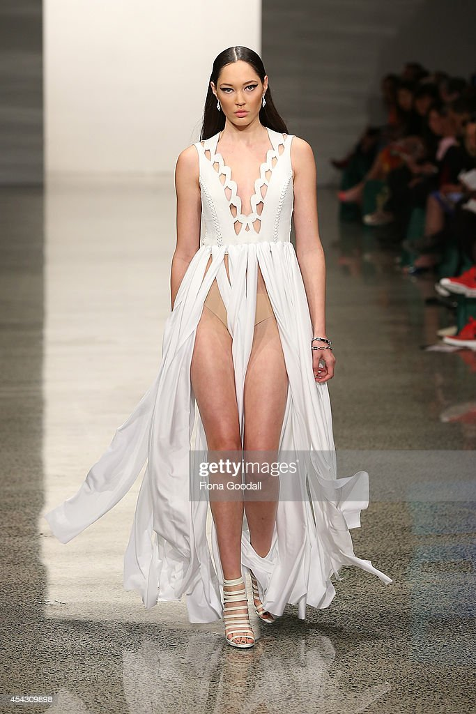 A model showcases designs by Sophia Aroha in the Miromoda Show at New Zealand Fashion Week 2014 on August 29 2014 in Auckland New Zealand