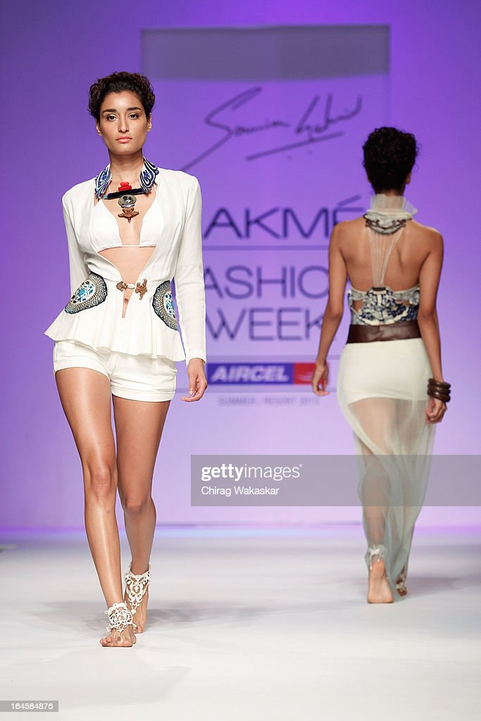 A model showcases designs by Sounia Gohil on the runway during day three of Lakme Fashion Week Summer/Resort 2013 on March 24, 2013 at Grand Hyatt in Mumbai, India.