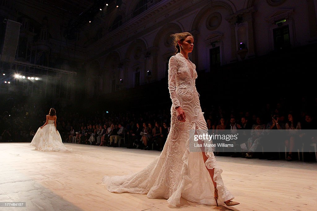 A model showcases designs by Steven Khalil on the runway at the InStyle Red Carpet Runway show during Mercedes-Benz Fashion Festival Sydney 2013 at Sydney Town Hall on August 23, 2013 in Sydney, Australia.