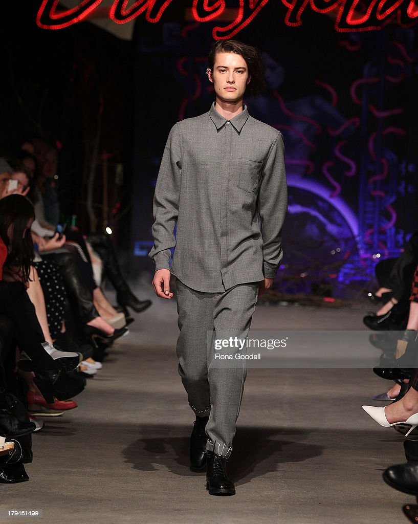 A model showcases designs by Stolen Girfriends Club on the runway during New Zealand Fashion Week at the Viaduct Events Centre on September 4, 2013 in Auckland, New Zealand.
