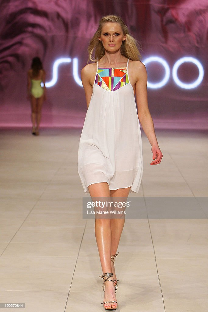 A model showcases designs by Suboo during the Miami Swim show as part of the Mercedes-Benz Fashion Festival Sydney 2012 at Sydney Town Hall on August 22, 2012 in Sydney, Australia.
