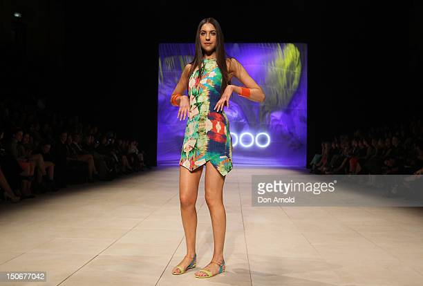 A model showcases designs by Suboo on the catwalk as part of Mercedes Benz Fashion Festival Sydney 2012 at Sydney Town Hall on August 24 2012 in...