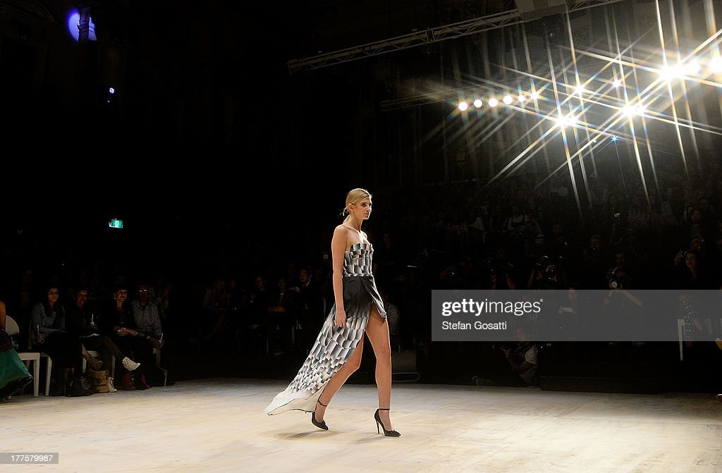 A model showcases designs by Suboo on the runway at the MBFWA Trends show during Mercedes-Benz Fashion Festival Sydney 2013 at Sydney Town Hall on August 24, 2013 in Sydney, Australia.
