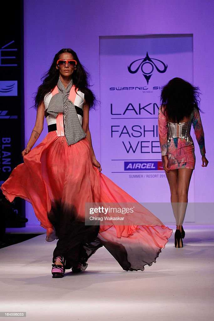 A model showcases designs by Swapnil Shinde on the runway during day three of Lakme Fashion Week Summer/Resort 2013 on March 24, 2013 at Grand Hyatt in Mumbai, India.