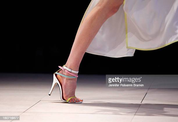 A model showcases designs by Tallulah on the catwalk as part of the MercedesBenz Fashion Festival Sydney 2012 at Sydney Town Hall on August 25 2012...