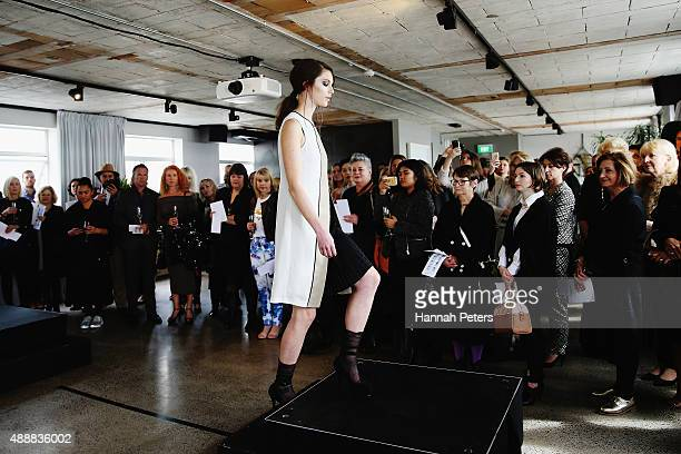 A model showcases designs by Taylor during the Britomart 'A Taste of Fashion' Progressive Lunch at the Britomart Precinct on September 18 2015 in...