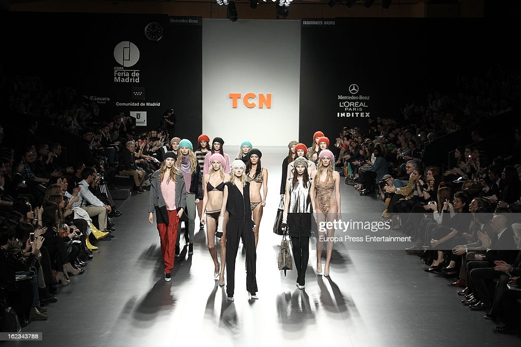 A model showcases designs by TCN on the runway at the TCN show during Mercedes Benz Fashion Week Madrid Fall/Winter 2013/14 at Ifema on February 21, 2013 in Madrid, Spain.