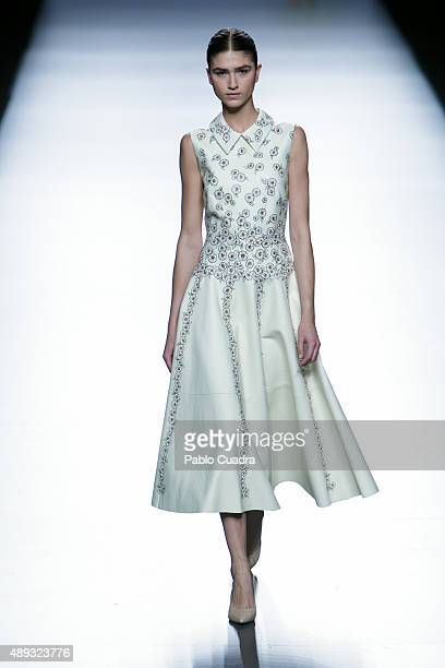 A model showcases designs by Teresa Helbig on the runway at the Teresa Helbig show during MercedesBenz Fashion Week Madrid Spring/Summer 2016 at...