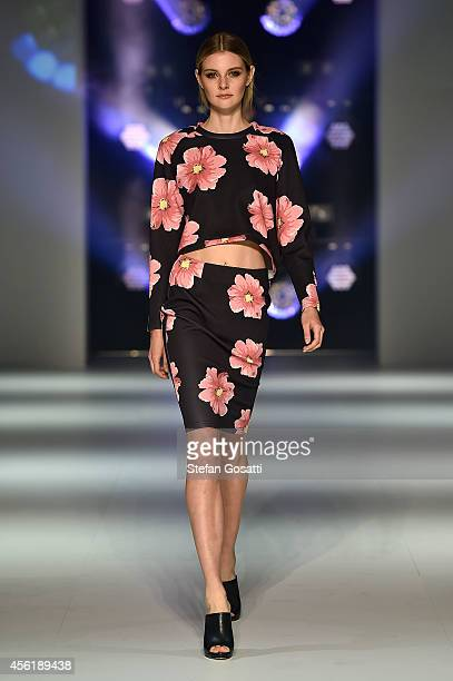 A model showcases designs by The Fifth during the Australian Fashion Labels show at MercedesBenz Fashion Festival Sydney at Sydney Town Hall on...
