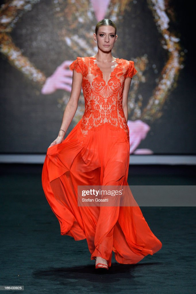 A model showcases designs by Thurley on the runway at the Hello Elle Australia show during Mercedes-Benz Fashion Week Australia Spring/Summer 2013/14 at Carriageworks on April 12, 2013 in Sydney, Australia.