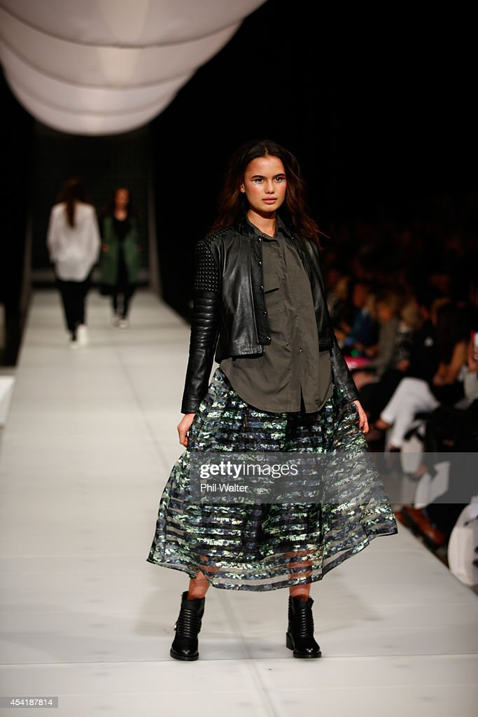 A model showcases designs by Trelise Cooper at New Zealand Fashion Week 2014 on August 26, 2014 in Auckland, New Zealand.