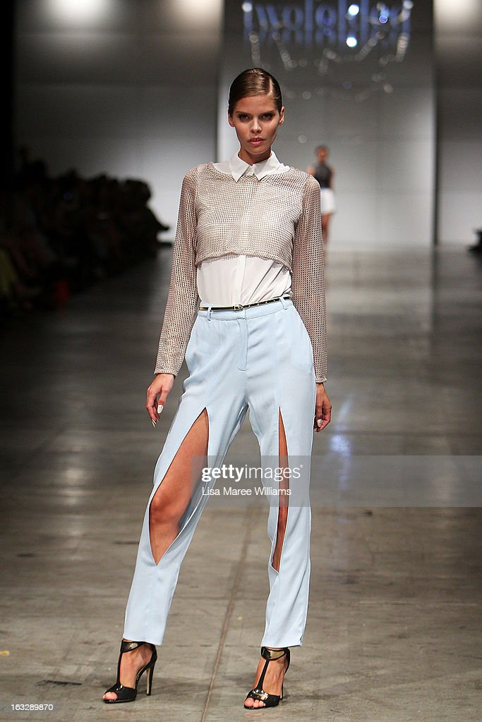 A model showcases designs by Twofolded on the runway during Fashion Palette 2013 on March 7, 2013 in Sydney, Australia.