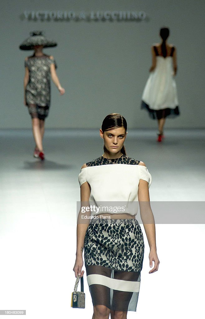 A model showcases designs by Victorio & Lucchino on the runway at Victorio & Lucchino show during Mercedes Benz Fashion Week Madrid Spring/Summer 2014 at Ifema on September 13, 2013 in Madrid, Spain.