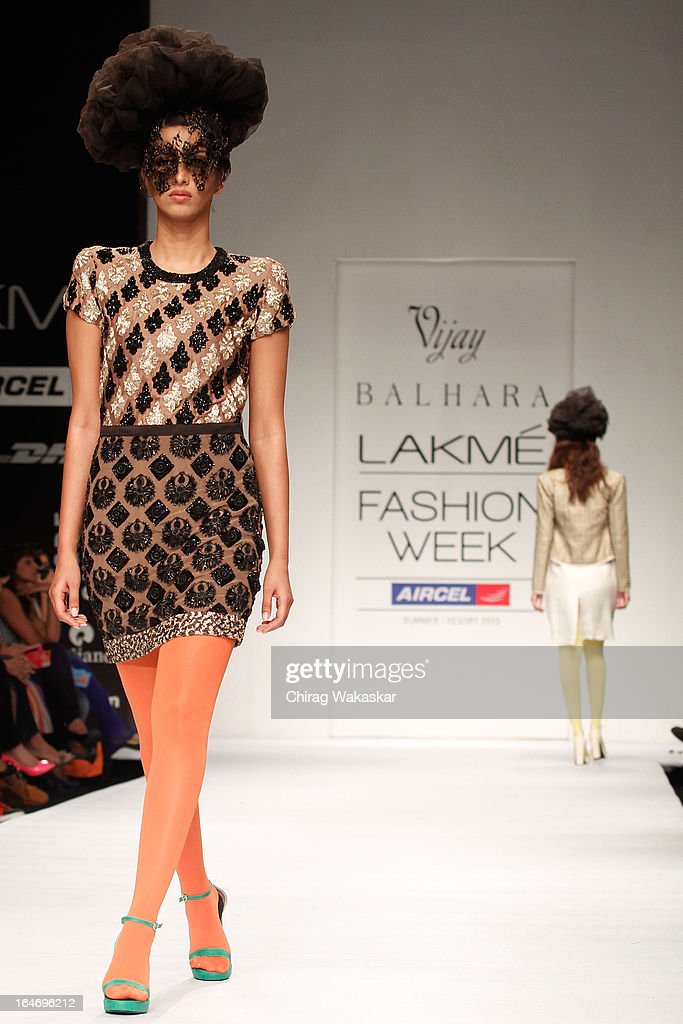 A model showcases designs by Vijay Balhara on the runway during day five of Lakme Fashion Week Summer/Resort 2013 on March 26, 2013 at Grand Hyatt in Mumbai, India.