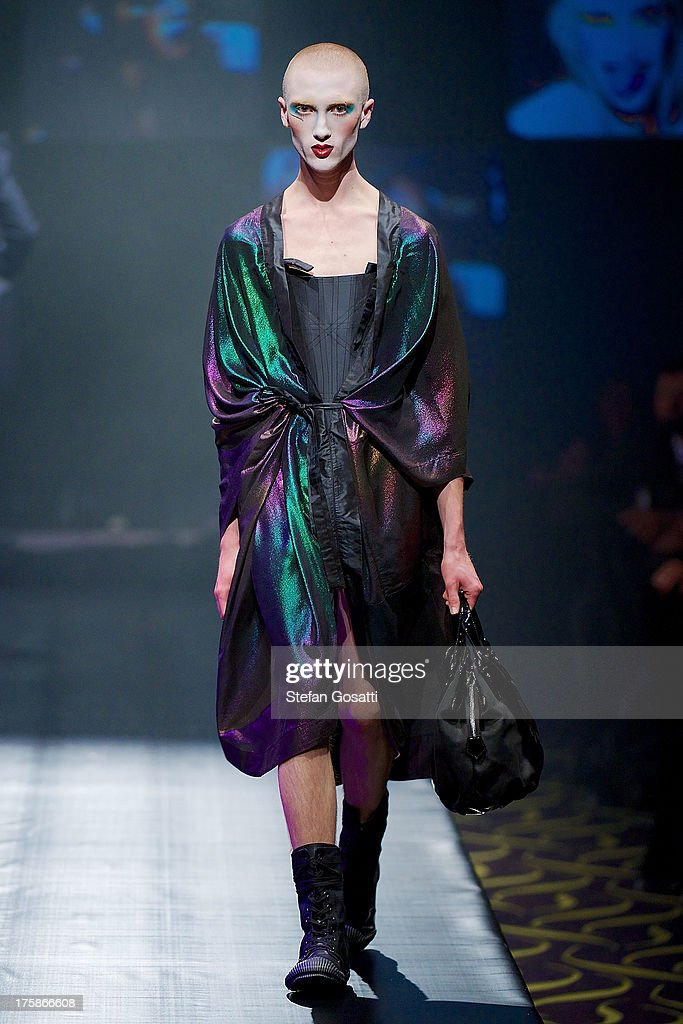 A model showcases designs by Vivienne Westwood presented by Dilettante on the catwalk during StyleAID 2013 at Crown Perth on August 9, 2013 in Perth, Australia.