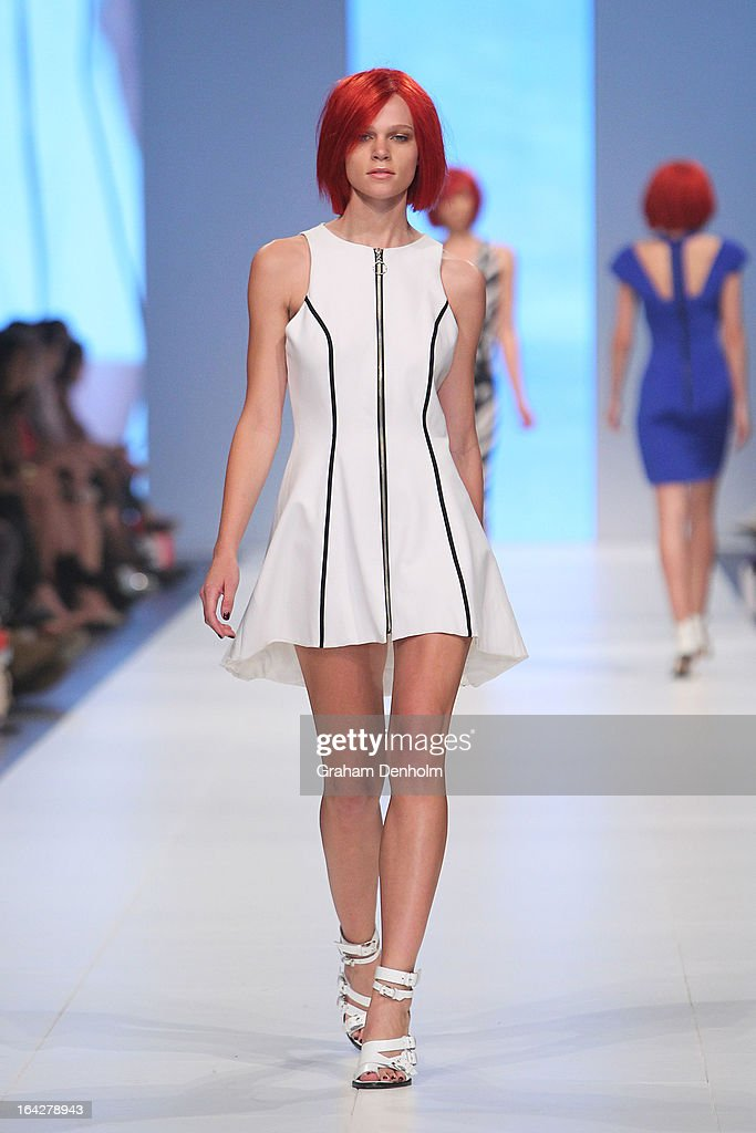 A model showcases designs by Watson x Watson on the runway at the L'Oreal Paris Runway 6 show during day five of L'Oreal Melbourne Fashion Festival on March 22, 2013 in Melbourne, Australia.