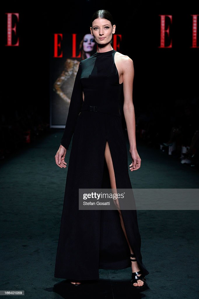 A model showcases designs by Watson X Watson on the runway at the Hello Elle Australia show during Mercedes-Benz Fashion Week Australia Spring/Summer 2013/14 at Carriageworks on April 12, 2013 in Sydney, Australia.