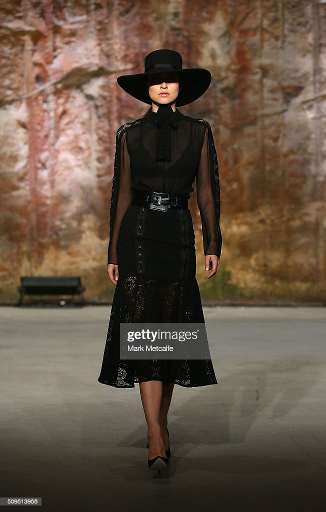 A model showcases designs by White Suede on the runway at the Myer AW16 Fashion Launch on February 11, 2016 in Sydney, Australia.