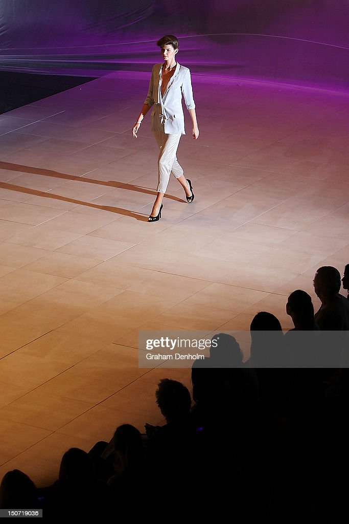 A model showcases designs by Whitney Eve on the catwalk as part of the Mercedes-Benz Fashion festival Sydney 2012 at Sydney Town Hall on August 25, 2012 in Sydney, Australia.