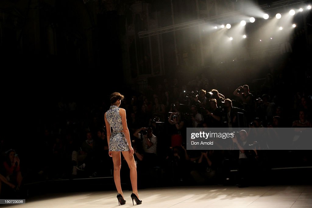 A model showcases designs by Whitney Eve on the catwalk as part of the the Mercedes-Benz Fashion festival Sydney 2012 at Sydney Town Hall on August 25, 2012 in Sydney, Australia.