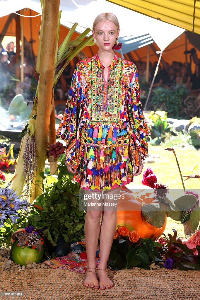 A model showcases designs by XXX on the runway at the Camilla show during Mercedes-Benz Fashion Week Australia Spring/Summer 2013/14 at Centennial Park on April 10, 2013 in Sydney, Australia.