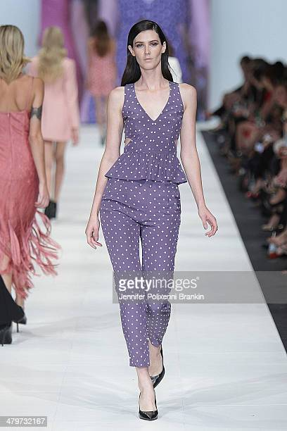 A model showcases designs by YB J' AIME By Yeojin Bae on the runway during the Premium Runway 4 Presented by Elle Australia show at Melbourne Fashion...