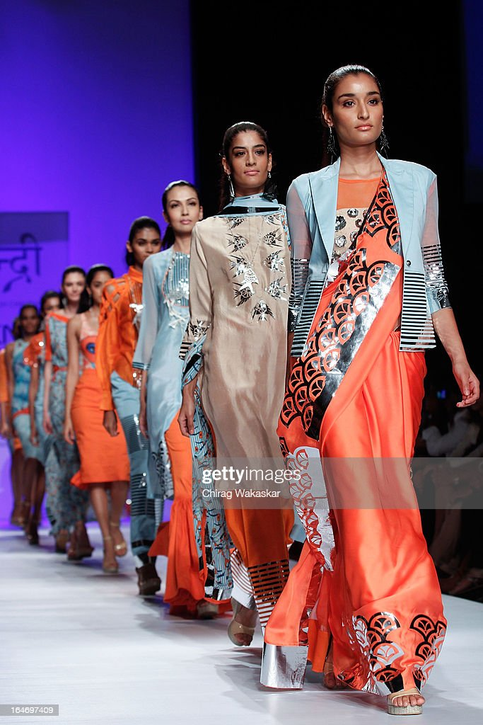 A model showcases designs by Yogesh Chaudhari on the runway during day five of Lakme Fashion Week Summer/Resort 2013 on March 26, 2013 at Grand Hyatt in Mumbai, India.