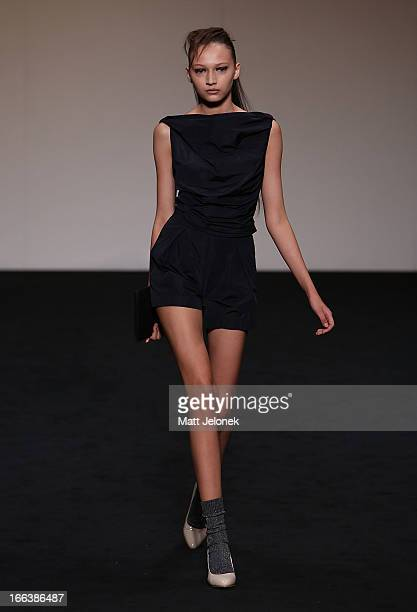 A model showcases designs by Zambesi on the runway at the Zambesi show during MercedesBenz Fashion Week Australia Spring/Summer 2013/14 at...