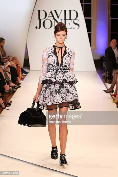 A model showcases designs by Zimmerman at the David Jones Spring/Summer 2014 Collection Launch at David Jones Elizabeth Street Store on July 30 2014...