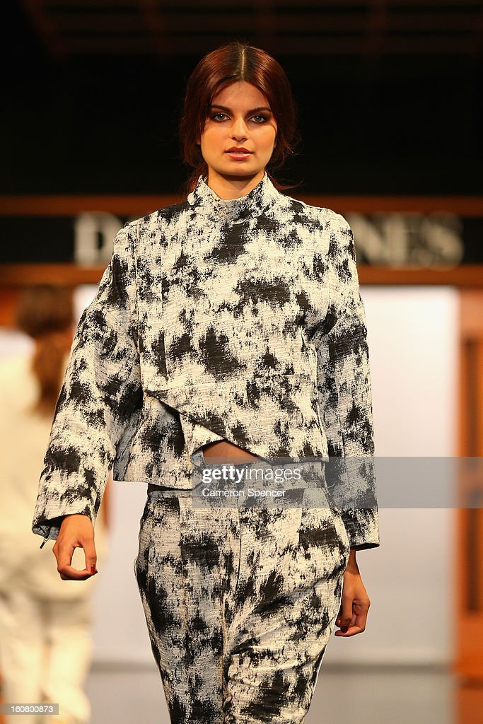 A model showcases designs by Zimmermann on the runway during the David Jones A/W 2013 Season Launch at David Jones Castlereagh Street on February 6, 2013 in Sydney, Australia.