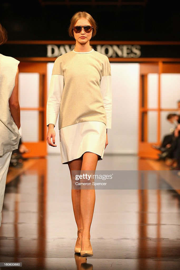 A model showcases designs by Zimmermann on the runway during the David Jones A/W 2013 Season Launch at David Jones Castlereagh Street on February 6, 2013 in Sydney, Australia.