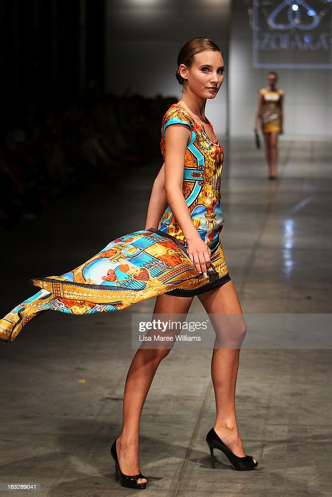 A model showcases designs by Zofara on the runway during Fashion Palette 2013 on March 7, 2013 in Sydney, Australia.