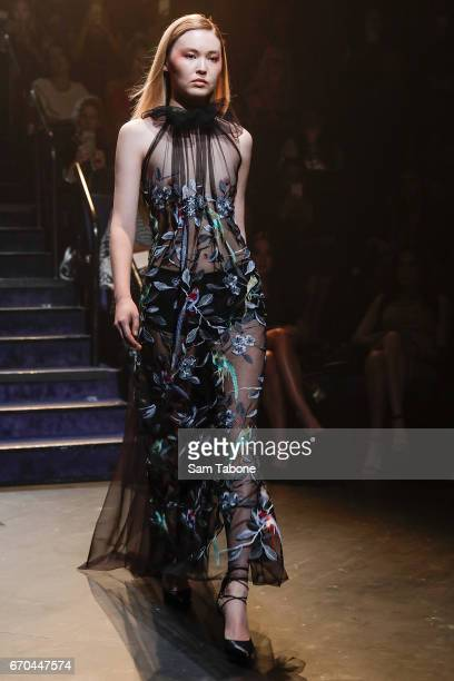 A model showcases designs during the Carla Zampatti Spring Summer 2017 Show at Sydney Theatre Company on April 20 2017 in Sydney Australia
