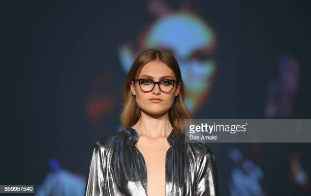 A model showcases designs during the Specsavers x Carla Zampatti Launch Event on October 11 2017 in Sydney Australia