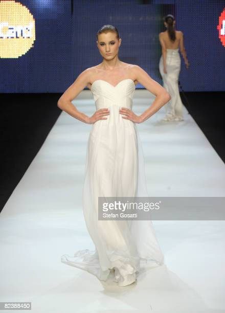 A model showcases designs from Alex Perry's Ready to Wear bridal collection on the catwalk at the Alex Perry Mastercard Charity Show in aid of the...