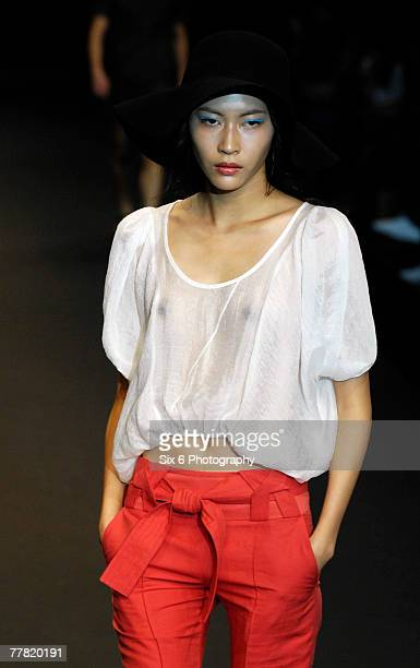 A model showcases designs from Publicka by Sin Young Jae on the catwalk as part of the Seoul Collection Spring/Summer 2008 Womenswear fashion event...