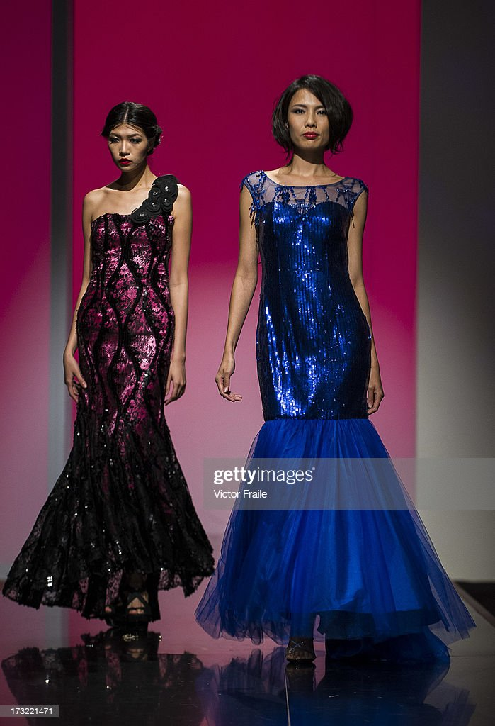 A model showcases designs of Nubiano on the runway during the Designer Collection Show on day 2 of Hong Kong Fashion Week Spring/Summer 2013 at the Hong Kong Convention and Exhibition Centre on July 9, 2013 in Hong Kong, China.
