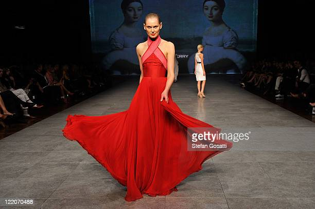 A model showcases designs on the catwalk by Alex Perry during A Review of Australian Fashion Week show as part of Mercedes Benz Fashion Festival...