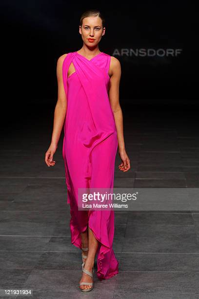 A model showcases designs on the catwalk by Arnsdorf during A Review Of Australian Fashion Week show as part of Mercedes Benz Fashion Festival Sydney...