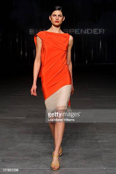 A model showcases designs on the catwalk by Bianca Spender during A Review Of Australian Fashion Week show as part of Mercedes Benz Fashion Festival...