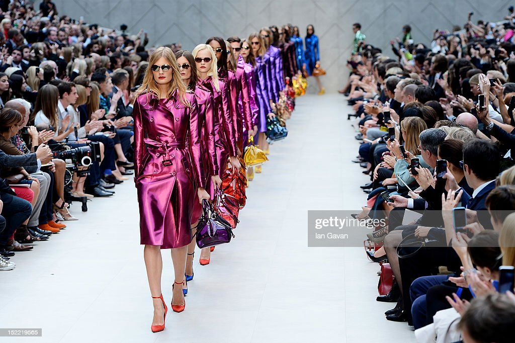 A model showcases designs on the catwalk by Burberry Prorsum on day 4 of London Fashion Week Spring/Summer 2013, at Kensington Gardens on September 17, 2012 in London, England.