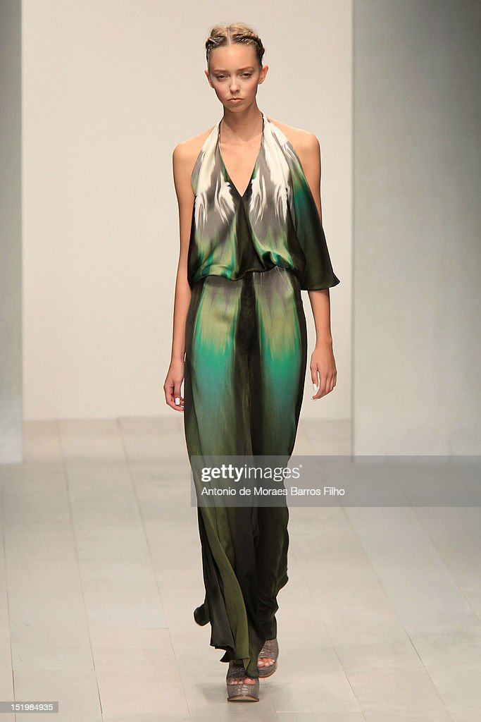 A model showcases designs on the catwalk by Maria Grachvogel on day 1 of London Fashion Week Spring/Summer 2013, at the Courtyard Show Space on September 14, 2012 in London, England.