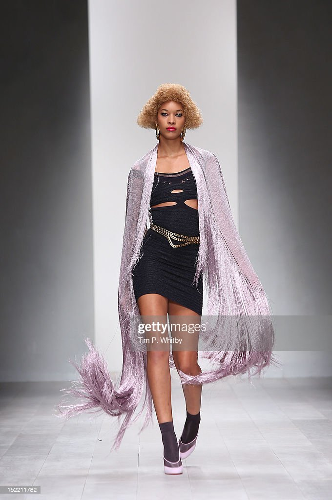 A model showcases designs on the catwalk by Mark Fast on day 4 of London Fashion Week Spring/Summer 2013 at The Courtyard Show Space on September 17...