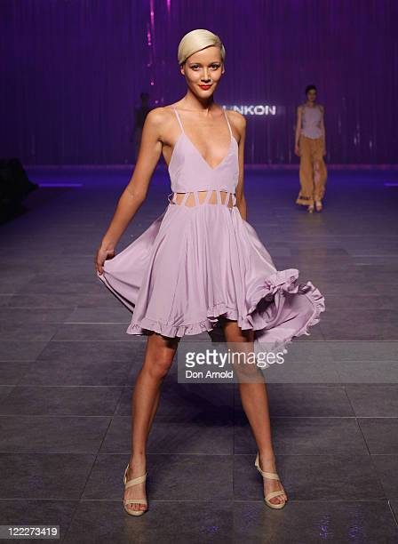 A model showcases designs on the catwalk by Miss Unkon during A Review of Australian Fashion Week show as part of Mercedes Benz Fashion Festival...
